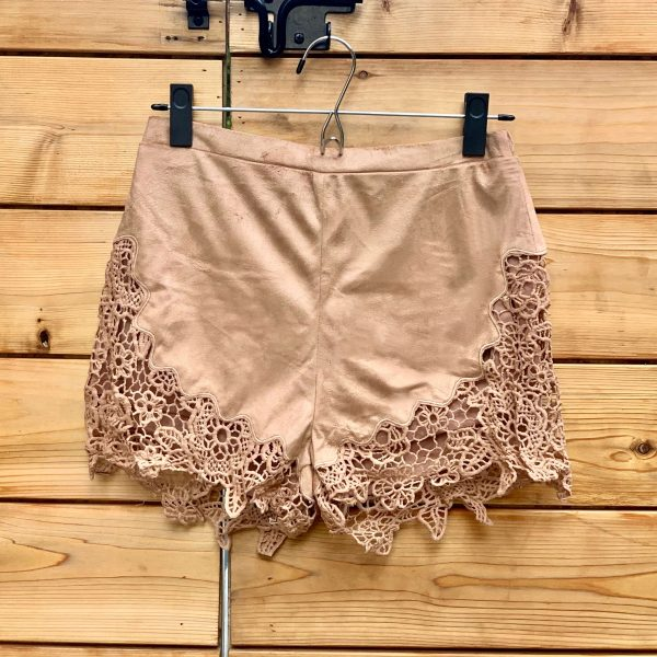 Suede Shorts with Lace trim