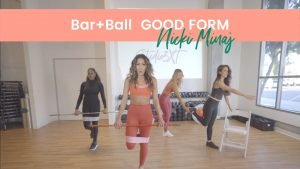 workout with bar and pilates ball